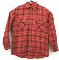 Perma Prest Sears Vintage Men's Large 2 Flap Pocket Plaid Flannel Western Shirt
