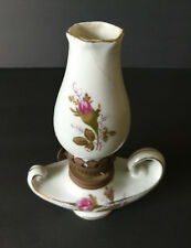 Small Vintage Porcelain Oil Lamp Pink Moss Rose Floral Aladdin Genie Lamp
