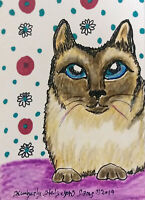 Siamese Cat Collectible Pop Art Print 4 x 6 Signed by Artist KSams Vintage Style