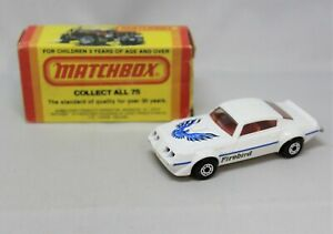 """Matchbox Lesney Superfast No16 PONTIAC FIREBIRD in WHITE with """" UNPAINTED BASE """""""