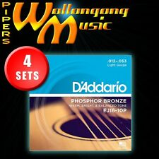 4 SETS: D'Addario EJ16 12-53 Phosphor Bronze Light Gauge Acoustic Guitar Strings