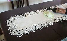 Long Handmade Thick Lace Table Runner Wedding Decoration White 42cm x 132cm