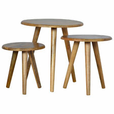 Set of 3 Handcrafted Vintage Nordic Style Solid Wood Round Stool Side Table X3