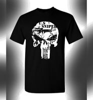 US Sniper T-Shirt Skull Logo Special Forces One Shot One Kill Armed Forces