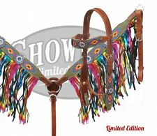 Showman Navajo Rainbow Leather Bridle Fringe Breast Collar Reins Blue Crystals