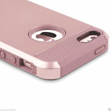 Rose Gold Shockproof Heavy Duty Tough Gel Shock Case Cover for iPhone SE 5S