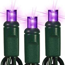 Purple LED Mini Christmas Lights Wide Angle 5mm Lights Green Wire Set Of 70 24'