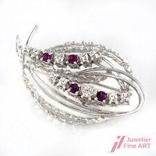 Broschen & Nadeln Rubin Diamant Brosche Mit Brillanten Brillianten Und Rubinen 750 Weißgold Nade*