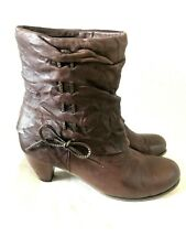 Spring Step Acclaim Leather Brown Bow Ties Ankle Boots Heel 40 9