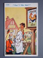 R&L Postcard: Comic, C Richter12048 Trow, Cock Inn Pub, Workman Painter