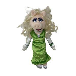 "Disney Store Miss Piggy Muppets 15"" Plush Doll GREEN DRESS"