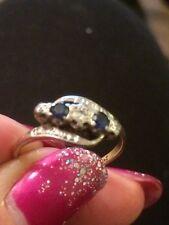 18ct PLATINUM AND GOLD SAPPHIRE & DIAMOND RING SIZE R