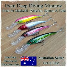 4 Deep Diving Minnow Fishing Lures Kingfish, Makerel, Snook, Trevally, Tuna 16cm