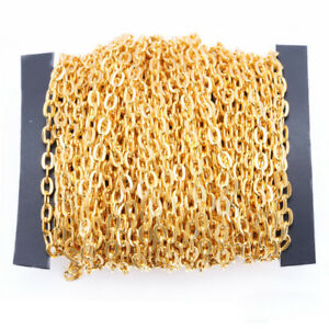 Wholesale 10 Meters 2x3/3x4/5x8mm Flat Cable Chain Oval Rolo Link Chain Findings