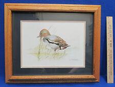 Oak Wood Framed & Matted Teal Duck Male Print Signed Joel Kirk Waterfowl Bird