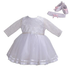 Girls Long Sleeves White Christening Gown With Headband Shoes 0-3 Months