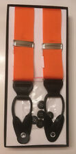 Men's Suspenders Braces Button On Orange Grosgrain Ribbon Straps Black Leather