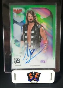 AJ STYLES - 2020 TOPPS CHROME WWE AUTOGRAPH CARD A-AS GREEN REFRACTOR AUTO 42/99