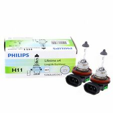 2x H11 Philips LongLife EcoVision 4x Lifetime 12362LLECO Halogen Duo Set