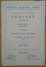 Southgate Orchestral Society 117th Concert programme Minchenden School 5/5/1956