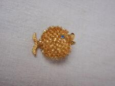 "Super Cute Puffer Fish Pin Brooch Blowfish Gold Blue Stone Eye Small 1.25"" Retro"