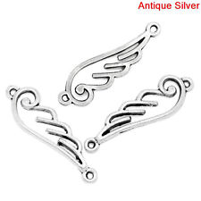 10 OPEN WING 2-hole Connector Link Charms, silver tone metal chs0921