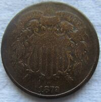 1872 Two Cent Piece Tough Date Bold Date Shows Fine