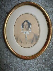 """Dessin original Époque Louis Philippe """"Comtesse Aimé des Plas"""" 1840"""