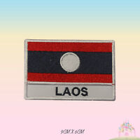 Laos National Flag With Name Embroidered Iron On Patch Sew On Badge Applique