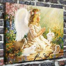 An angel and bunnies Painting HD Print on Canvas Home Decor Wall Art Pictures