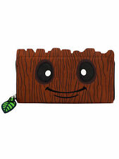 Loungefly Marvel Baby Groot Guardians of the Galaxy Face Vegan Zip Around Wallet