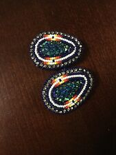American Beaded Earrings Dark Colored Native