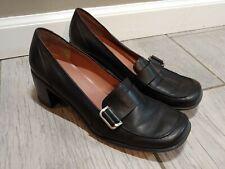NINE WEST black leather square toe heels size 8M - Leather slightly bent