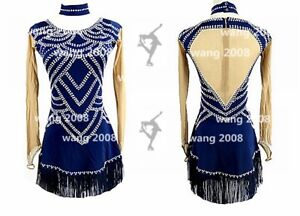 Ice Figure Skating Dress Rhythmic Gymnastics Twirling Competition blue tassels