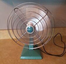 "Vintage Mid Century Turquiose Blue Eskimo 11 1/4"" All Metal Fan"