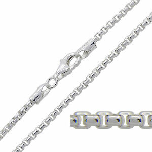 925 Sterling Silver ROUNDED BOX Chain Necklace 2mm