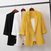 Women's Cotton Linen Loose Blazer Suit Casual OL Work Jacket Long Sleeve Outfits