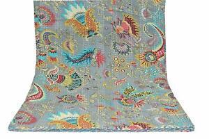 Indian Handmade Multicolor Mukut Print King Size Kantha Quilt, Kantha Blanket
