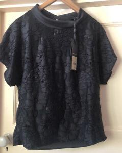 BNWT PHASE EIGHT BLACK 'JO' JACQUARD COWL NECK SHORT SLEEVE TOP - SIZE 8
