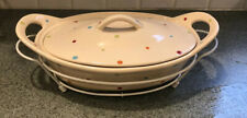 """RARE! Temptations 15""""Multi Color Polka Dot Casserole With Rack.  Never Used"""