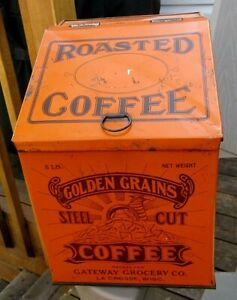 ca 1910 5 POUND LaCROSSE, WISCONSIN ROASTED COFFEE TIN LITHO GENERAL STORE BIN