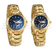 Couples Watch Gold Tone Diamond Dial Calendar Date Display Quartz Wrist Watches