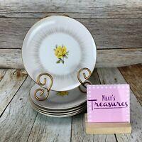 Vintage Sango Fine China DAWN Yellow Rose Gold Trim Bread Side Plates Set Five