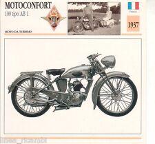 Scheda moto plastificata MOTOCONFORT 100 tipo AB 1 - Motp da turismo - 1937