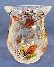Harvest Leaves Crackle Glass Hurricane Pillar Holder Fall Home Decor Lg.