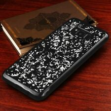 For Samsung Galaxy S8 - SILVER Flakes Soft Black Gel Rubber Silicone Skin Case