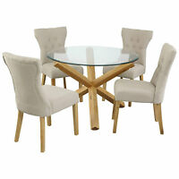 Oporto Saturn Solid Oak and Glass Dining Table Round: 107cm or 120cm Available