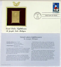 22k Gold Replica Stamp Great Lakes Lighthouses Postal Commemorative 1st Day
