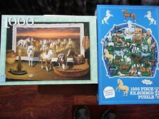 """2 Fx Schmid 1000 pc. Puzzles Excellent Condition """"Horsing Around & New Frontier"""""""