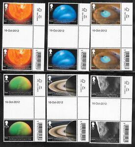 """GB CARD OF SG 3408-13 MARGIN GUTTER PAIRS """"SPACE SCIENCE"""" 2012. M.N.H."""